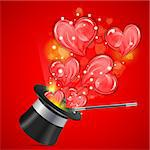 Magician Hat with Hearts and Wand, vector illustration Stock Photo - Royalty-Free, Artist: TAlex                         , Code: 400-06556438
