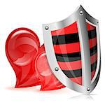 Valentines Day Concept - Shield Protects Two Hearts, vector isolated on white background Stock Photo - Royalty-Free, Artist: TAlex                         , Code: 400-06556441