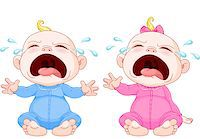 Cute crying baby twins Stock Photo - Royalty-Freenull, Code: 400-06556842