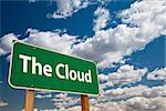 The Cloud Green Road Sign Over Clouds and Sky. Stock Photo - Royalty-Free, Artist: Feverpitched                  , Code: 400-06557293