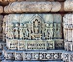 Ancient Sun Temple in Ranakpur. Jain Temple Carving.  Ranakpur, Rajasthan, Pali District, Udaipur, India. Asia. Stock Photo - Royalty-Free, Artist: photoff                       , Code: 400-06557314