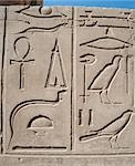 Ancient Egyptian hieroglyphic carvings on a temple wall at Karnak in Luxor Stock Photo - Royalty-Free, Artist: paulvinten                    , Code: 400-06558068