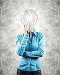Photo of the girl with lightbulb instead of a head Stock Photo - Royalty-Free, Artist: FotoVika                      , Code: 400-06558073