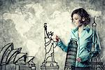 Photo of the smiling girl drawing different sights Stock Photo - Royalty-Free, Artist: FotoVika                      , Code: 400-06558081