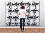 Photo of the girl before a wall with a labyrinth Stock Photo - Royalty-Free, Artist: FotoVika                      , Code: 400-06558104
