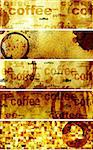 Collection of banners with paper texture and drops of coffee Stock Photo - Royalty-Free, Artist: frenta                        , Code: 400-06558303