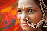 Close up face of Traditional Indian woman in sari costume, India Stock Photo - Royalty-Freenull, Code: 400-06558385