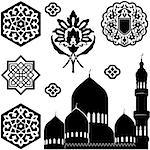 Vector set of Islamic ornaments on white background Stock Photo - Royalty-Free, Artist: sateda                        , Code: 400-06559247