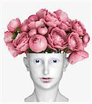 human head as an vase for flowers Stock Photo - Royalty-Free, Artist: vicnt                         , Code: 400-06559255