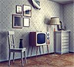 obsolete retro interior (photo and cg elements combinated, texture and grain add) Stock Photo - Royalty-Free, Artist: vicnt                         , Code: 400-06559257