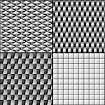 gray seamless patterns with geometric shapes Stock Photo - Royalty-Free, Artist: dip                           , Code: 400-06560085