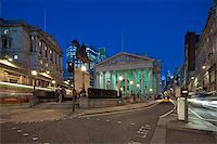 stock exchange building - Night view of British financial heart, Bank of England and Royal Exchange. Photograph taken with the tilt-shift lens, vertical lines of architecture preserved Stock Photo - Royalty-Freenull, Code: 400-06560256