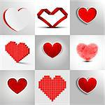 set of detailed heart illustrations on light background Stock Photo - Royalty-Free, Artist: unkreatives                   , Code: 400-06560841