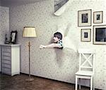 people breaking the room wall by  fist Stock Photo - Royalty-Free, Artist: vicnt                         , Code: 400-06560873