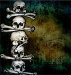 Grunge background with human skulls and bones Stock Photo - Royalty-Free, Artist: frenta                        , Code: 400-06561497