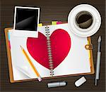open diary with a heart Stock Photo - Royalty-Free, Artist: Ghen                          , Code: 400-06561595