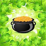 St. Patricks Day Cauldron with Gold Coins in Green leaves and Shamrocks Stock Photo - Royalty-Free, Artist: WaD                           , Code: 400-06561939