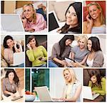 Technology communication concept montage of women at home sitting on sofas, settees, beds or in kitchen using laptop or tablet computers and cell or mobile phones smiling happy & relaxed. Stock Photo - Royalty-Free, Artist: darrenbaker                   , Code: 400-06562521