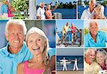 Happy retirement senior man and woman couple on an active romantic vacation together cycling and at the beach in summer sunshine Stock Photo - Royalty-Free, Artist: darrenbaker                   , Code: 400-06562531