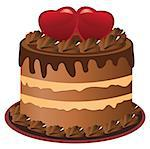 vector chocolate cake with heart Stock Photo - Royalty-Free, Artist: lilac                         , Code: 400-06562726