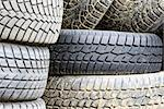 Used car tires with traces of mud thrown on the pile Stock Photo - Royalty-Free, Artist: marekusz                      , Code: 400-06564088