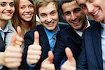 Portrait of five business partners keeping thumbs up and looking at camera with smiles Stock Photo - Royalty-Free, Artist: pressmaster                   , Code: 400-06564464