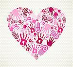Love heart made with expressive hand print. Vector illustration layered for easy manipulation and custom coloring. Stock Photo - Royalty-Free, Artist: cienpiesnf                    , Code: 400-06565848