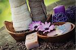 Spa and wellness setting with natural soap, candles and towel. Violet dayspa nature set dayspa nature set Stock Photo - Royalty-Free, Artist: mythja                        , Code: 400-06566035
