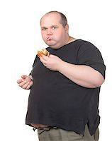 Fat Man Greedily Eating Hamburger, on white background Stock Photo - Royalty-Freenull, Code: 400-06566133