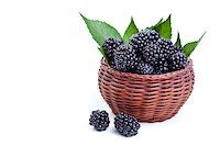 Fresh blackberries with leaves in a small basket - isolated with a bit of shadow Stock Photo - Royalty-Freenull, Code: 400-06568360