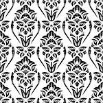 Black and white seamless damask wallpaper pattern Stock Photo - Royalty-Free, Artist: weit                          , Code: 400-06568422