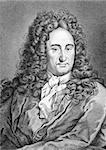 Gottfried Leibniz (1646-1716) on engraving from 1859. German mathematician and philosopher. Engraved by unknown artist and published in Meyers Konversations-Lexikon, Germany,1859. Stock Photo - Royalty-Free, Artist: Georgios                      , Code: 400-06568938