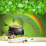 Saint Patrick's Day greeting card with pot, coins and ribbon Stock Photo - Royalty-Free, Artist: Merlinul                      , Code: 400-06569676