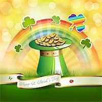 St. Patrick's Day card design with hat, clover and coins Stock Photo - Royalty-Freenull, Code: 400-06569690