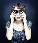 Beautiful young woman with bandage on her eyes Stock Photo - Royalty-Free, Artist: vicnt                         , Code: 400-06569770