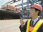 Man at container terminal Stock Photo - Premium Royalty-Free, Artist: Cultura RM, Code: 6114-06589685