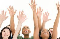 five - People with arms raised Stock Photo - Premium Royalty-Freenull, Code: 6114-06589719