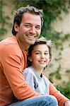 Portrait of father and son Stock Photo - Premium Royalty-Free, Artist: Westend61, Code: 6114-06589902