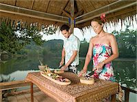 paradise (place of bliss) - Couple preparing food Stock Photo - Premium Royalty-Freenull, Code: 6114-06590028