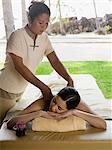 Young woman having a massage Stock Photo - Premium Royalty-Free, Artist: urbanlip.com, Code: 6114-06590061