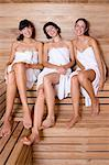 Young women in a sauna Stock Photo - Premium Royalty-Free, Artist: Blend Images, Code: 6114-06590098