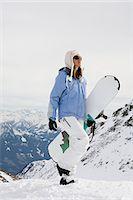 Female snowboarder Stock Photo - Premium Royalty-Freenull, Code: 6114-06590379