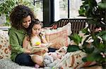 Mother and daughter reading Stock Photo - Premium Royalty-Free, Artist: Aflo Relax, Code: 6114-06590632