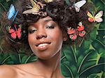 Woman with butterflies in her hair Stock Photo - Premium Royalty-Free, Artist: Minden Pictures, Code: 6114-06591026