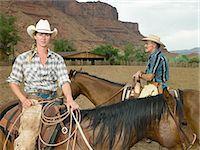 farming (raising livestock) - Woman and man on horseback Stock Photo - Premium Royalty-Freenull, Code: 6114-06591625