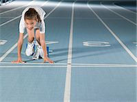 race track (people) - Girl on starting line Stock Photo - Premium Royalty-Freenull, Code: 6114-06592042
