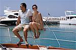 Couple at marina Stock Photo - Premium Royalty-Free, Artist: Westend61, Code: 6114-06592108
