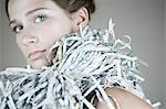 Portrait of a woman wearing a recycled accessories Stock Photo - Premium Royalty-Freenull, Code: 6114-06593155