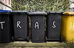 Graffiti on wheelie bins Stock Photo - Premium Royalty-Freenull, Code: 6114-06593392