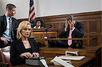 A lawyer questioning a suspect Stock Photo - Premium Royalty-Freenull, Code: 6114-06593941